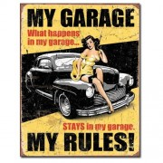 """""""Sign - My Garage My Rules (Yellow with Black Car)"""""""