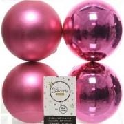 Decoris 4x Fuchsia roze kerstballen 10 cm kunststof mat/glans