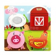Alcoa Prime Kids Colorful Farm Animal Chunky Wooden Puzzle Jigsaw Baby Educational Toy