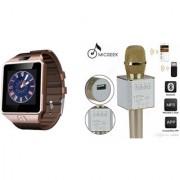 Mirza DZ09 Smart Watch and Q9 Microphone Karrokke Bluetooth Speaker for LG OPTIMUS L5 DUAL(DZ09 Smart Watch With 4G Sim Card Memory Card| Q9 Microphone Karrokke Bluetooth Speaker)