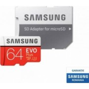 Card de Memorie Samsung EVO Plus microSDXC 64GB Clasa 10 100MB/s UHS-I + Adaptor SD