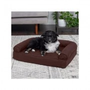 FurHaven Quilted Orthopedic Bolster Cat & Dog Bed w/ Removable Cover, Coffee, Small
