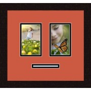 ArtToFrames Art to Frames Double-Multimat-787-693/89-FRBW26061 Collage Frame Photo Mat Double Mat with 2 4x6 and 1 1x5 Openings and Espresso frame