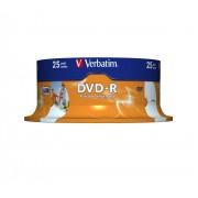 "DVD-R VERBATIM 4.7 GB, 120 min, viteza 16x, Single Layer, spindle, printabil, ""Wide Inkjet Printable"", 25 buc/set"