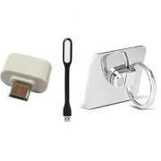 Combo Of Mobile Phone Ring(Stand) USB Led Light and OTG Adopter (Assorted Colors)
