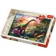 Puzzle clasic pentru copii - Taramul dinozaurilor 100 piese