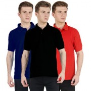 FUEGO Fashion Wear Combo Of Polo T-shirt For Men- Pack Of 3 FG-3CM-POLO-BLK-DB-RD