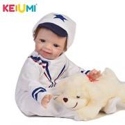 KEIUMI 55 cm Handsome Reborn Baby Dolls Soft Silicone Alive Newborn Boy Doll Real Look Boneca Reborn Toy for Kids Birthday