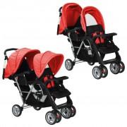 vidaXL Carrinho de bebé paralelo em aço, vermelho e preto