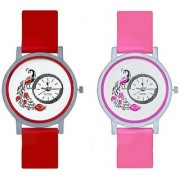 KAJARU Peacock Red And Pink Colour Round Dial Analog Watches Combo For Girls And Women