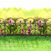 """Virágágyás szegély / kerítés fekete """"kovácsoltvas"""" műanyag 60 x 38 cm"""
