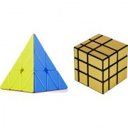 Emob High Speed Stickerless Pyraminx And Gold Magic Rubik Cube (2 Pieces)