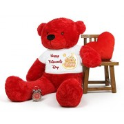 Red 5 feet Big Teddy Bear wearing a Happy Friendship Day T-shirt
