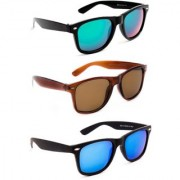 TheWhoop Super Combo UV Protected Green Brown And Blue Wayfarer Sunglasses For Men Women Girls Boys