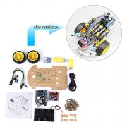 Walfront Smart Robot Car Tracking Motor Smart Robot Uno R3 Kit Multi-functional for Arduino Uno R3 Kit, Remote Control, Line Tracking and Obtacle Avoiding for Arduino DIY