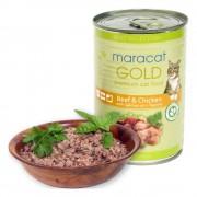 Hrana umeda pentru pisici Maracat Gold cu Vita si Pui, 400g