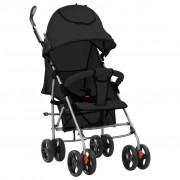 vidaXL Сгъваема детска количка/бъги 2-в-1, черна, стомана