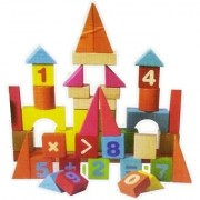 Emob Colorful 60PCS Wooden Multifunctional Educational learning Block Set for Kids (Multicolor)