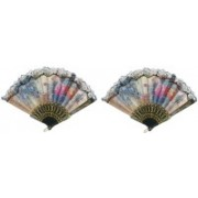 MOREL Foldable Floral Print Multicolor Hand Fan(Pack of 2)