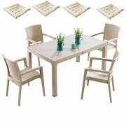 Mobila gradina Inglesa masa Classi Ratan 90x150x75cm 4 scaune Paris Rattan 4 perne scaun, Hascevher, B004297-42322-42333, capucino