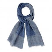Les Poulettes Bijoux Echarpe 100% Lin Bleu Et Pois Bleu- Bordure Plumetis Blancs