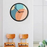 12 Inch Home Office Room Decorativas De Metal Frame Color Contraste MUTE No Marcando Muro Redondo Reloj De Cuarzo