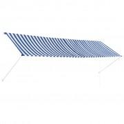 vidaXL feltekerhető kék és fehér napellenző 400 x 150 cm