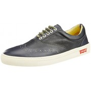 Levis Men's Yontville Low Brogue Grey Leather Sneakers - 9 UK