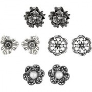 GoldNera German Silver Floral Small Design Stud Earrings White Metal Stud Earring For Girls