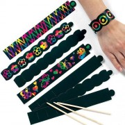 Scratch Art Bracelets - 12 in two designs. Each supplied with scratch tool for rainbow designs. Bracelet length 22cm.