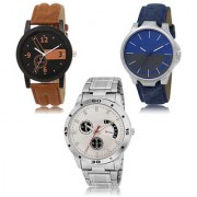 MACRON W-474 Latest Designed Stylish Watch Combo Watch Black Blue White Dial And Brown Blue Silver belt Watch Pack of 3
