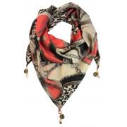 Shelly trojúhelníkový šátek s potiskem světle červená