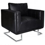 vidaXL Кубичен фотьойл с хромирани крака, черен, изкуствена кожа