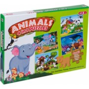 Set de 4 puzzle cu animale colorate 4 ani+ Topi Dreams