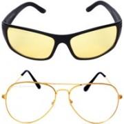 Criba Aviator, Retro Square Sunglasses(Yellow, Clear)