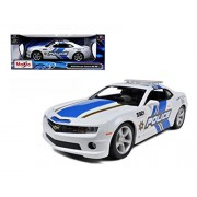 Chevy Camaro Ss Rs Police Car, White Maisto 31161 1/18 Scale Diecast Model Toy Car