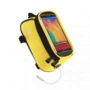 Husa Roswheel pentru bicicleta, cu buzunar pentru telefon de 5.5 inch si cablu jack 3.5mm - Galben