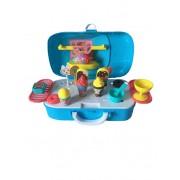 Set de joaca 2 in 1, Dessert House Mini Sports Car DIY cu 22 piese, Blue