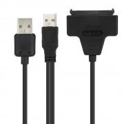 """1 St Zwart Licht Pin Adapter Kabel USB 2.0 naar SATA 7 15 Pin 22 Voor 2.5 """"HDD Harde Schijf Met Usb-voedingskabelWinkel"""