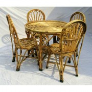 Cane Dining Set ( 1 Table + 4 chairs ) with Cushion