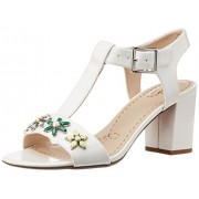 Clarks Women's Deva Daisy White Synthetic White Synthetic Leather Fashion Sandals - 5UK/India (38EU)