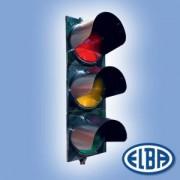 Közlekedési jelzőlámpa 3S2TL piros/sárga/zöld, ABS test, ellenző nélkül d=200mm izzóval IP56 Elba