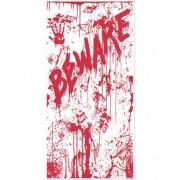 Decoração de porte en sangue BEWARE Halloween