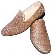 Merkloos Heren disco instap schoenen met gouden glitters 47 - Verkleedschoenen