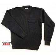 Sweter mundurowy z pagonami i kieszonką na piersi, kolor czarny