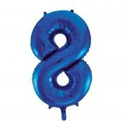 Geen Cijfer 8 folie ballon blauw van 86 cm