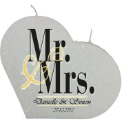 Trouwkaars MR&MRS op een grote hartkaars - wit