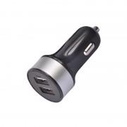 Incarcator de Masina Dual USB cu Inel Argintiu Rotund