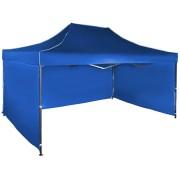 Gyorsan összecsukható sátor 3x4,5 m – acél, Kék, 3 oldalfal