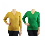 Women's Retro Fox Junior's Long Sleeve Knit V-Neck Sweaters 1, 2 or 3Pack L (6) Lime & Dark Mustard